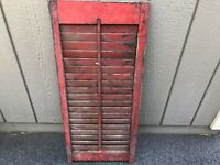 Vintage Shutter Wood Window Louvered Red