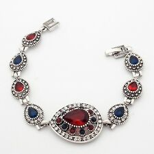 Well-liked Blue And Red Teardrop Cubic Zircon Silver Plated 20 cm Lady Bracelet