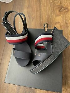 New Tommy Hilfiger Womens Navy Wedge Iconic Elena Sandals Size UK 6 EU 39