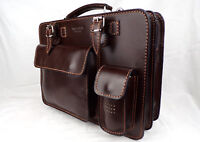 Aktentasche Leder braun Businesstasche Damen Herren Made in Italy