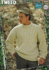Men's Textured Yoke Sweater Sirdar 8533 knitting pattern Aran weight yarn winter