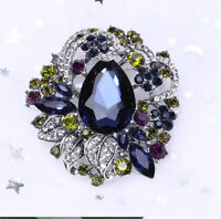 Betsey Johnson Blue Crystal Rhinestone Flower Charm Women's Party Brooch Pin