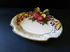 Fitz & Floyd Winter Spice Canape' Dish 3-D Bow Fruit Pinecones Gold Accents New
