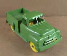 """Vintage Molded Plastic Pickup Truck Green with Yellow Wheels 7.5"""""""