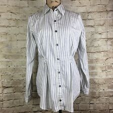 Cabi Career Button Down Long Sleeve Blouse Stripe Collared Size Medium