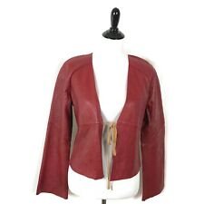 GAP Red Leather Jacket Blazer Tie Front Flare Bell Sleeve Women Size M