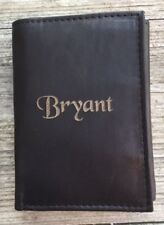 Personalized Leather Wallet Mens Black Trifold Engraved