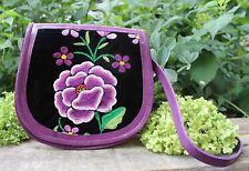 Hand Embroidered Leather Shoulder Bag Handbag Oaxaca Mexico Hippie Cowgirl Boho