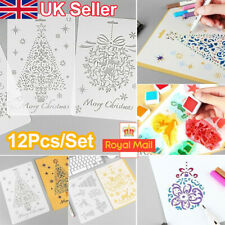 12Pcs Christmas Layering Stencil Craft Embossing Scrapbooking Painting Template