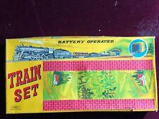Haji Santa Fe Battery Operated TRAIN SET with box Japan tin litho Toy