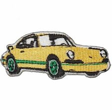 Import race car (IRON ON PATCH) Small Yellow Emblem, Sports Car Applique