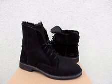 UGG QUINCY BLACK SUEDE/ SHEEPSKIN WINTER ANKLE BOOTS, US 5/ EUR 36 ~NIB