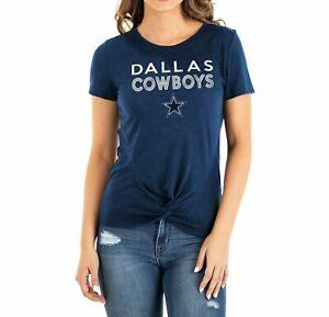 Dallas Cowboys Women's New Era Glitter Knot Navy Tee - FREE SHIPPING