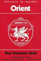 Football Programme>ORIENT v WEST BROMWICH ALBION Nov 1973
