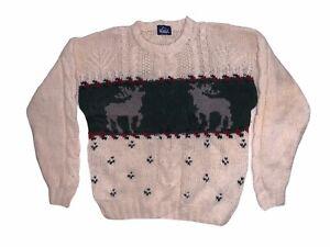 WOOLRICH Vintage Men's Pullover Knit Jumper Reindeer -  Size XXL