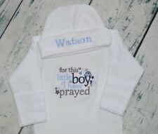PERSONALIZED Baby Gown & Hat For This Little Boy I have Prayed - Blue Navy Gray