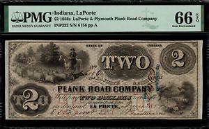 1850's $2 Obsolete - LaPorte, Indiana - Graded PMG 66 EPQ