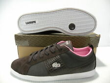 LACOSTE OBSERVE CROC CANVAS SNEAKERS WOMEN SHOES BROWN *14STW6875-K55 SZ 10 NEW
