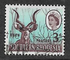 SOUTHERN RHODESIA ISSUE -QE11 ERA USED 3d DEFINITIVE STAMP 1964 - KUDU