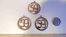 3 Vintage Large Number Year  59 Rhodium Over Brass Disc Solid Charms