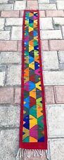 """Zapotec Oaxacan Hand Woven 9x79""""  Red Fish Large Floor Wall Tapestry Rug Runner"""