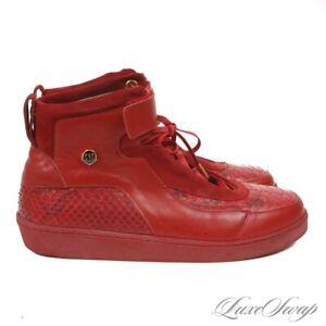 #1 MENSWEAR Gregoire Garcon Red Leather Genuine Python Snakeskin Sneakers 13 NR