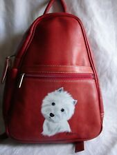 Piel Leather Women's Backpack Red Size OSFA West Highland White Terrier