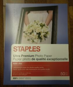 "Staples Photo Supreme Paper 8.5"" x 11"" Double Sided Matte 50/Pack Free Shipping"
