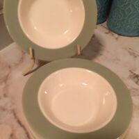 Mid Century Celadon and Cream Dessert Bowls 6 Inch Set Of Six