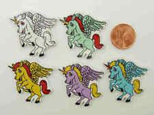 5 boutons Licorne cheval bois découpé 34mm mix couleurs DIY déco scrapbooking