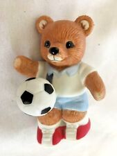 "Brown Homco 3"" Ceramic #1 Bear Socker Player Figurine"