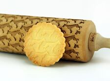 Engraved Dog Breeds rolling pin wooden laser cut unique design cookies embossing