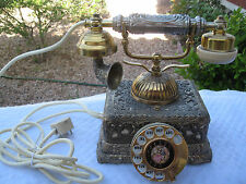 """JAPAN VINTAGE VICTORIAN """"FRENCH STYLE"""" ROTARY DIAL W/BRASS FILIGREE CASE PHONE"""