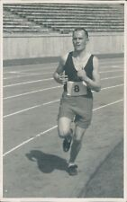 Postcard Real Photo Man On Athletics Track Berlin Olympic Stadium
