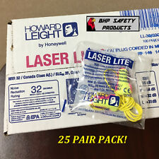 HOWARD LEIGHT LASER LITE LL-30 CORDED DISPOSABLE FOAM EAR PLUGS NRR32 (25 PAIRS)
