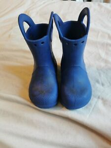 Crocs Boys Toddler Blue Wellies With Pull On Handles UK Infant Size 8