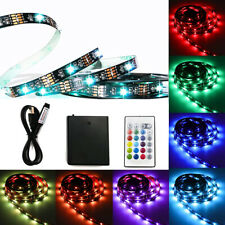 2m USB RGB LED Strip Lights IP20 TV Backlights With RF Remote Battery Powered