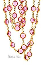 Swarovski Crystal Necklace, (53) Bezel Set Pink Crystal, Swan Tag, Vintage