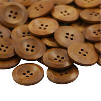 50 X Wooden 4 Holes Round Wood Sewing Buttons DIY Craft Scrapbooking 25mm Hot