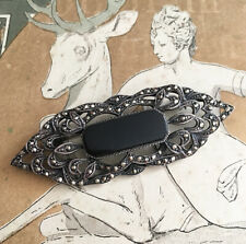 Broche Ancienne Art Déco 1920 Argent Onyx Marcassites - Silver French Brooch