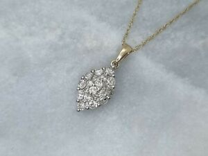 Solid 9ct Yellow White Gold Cluster Pendant 0.50ct Round Diamond Chain Necklace
