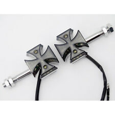 2x Motorcycle Motorbike Turn Signal Lights Indicator Maltese Grey Cross Complete
