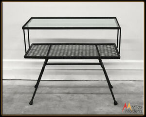 Vintage 60s Mid Century Modern George Nelson 2 Tier Glass Black Metal End Table