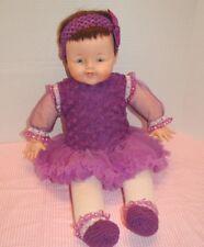 """Vintage 25"""" 1963 Madame Alexander Big Huggums Wears Purple Tutu, tights, booties"""