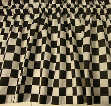 Valance Black and White Check Race Car Curtain Window Treatment  Custom Made
