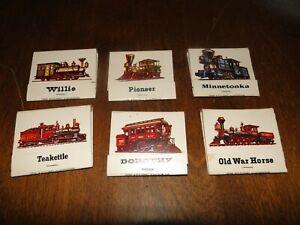 lot of 6 Train locomotive railroad matchbooks 1981 Ohio Match Company