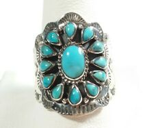 925 STERLING SILVER INTRICATELY ETCHED FLOWER TURQUOISE SIZE 11 RING