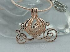 Pick A Pearl Cage Carriage Rose Gold Necklace Princess Cinderella Pumpkin Locket