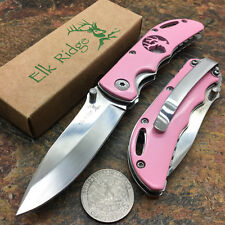 Elk Ridge Small Folding Stainless Steels Blade Pink Gentleman's Pocket Knife