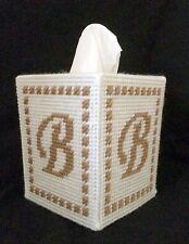 Monogram Tissue Cover Gold & White handmade Boutique size ANY LETTER